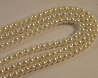 """Pearl"" strand of 100 glass beads 4 mm VN20 ivory"