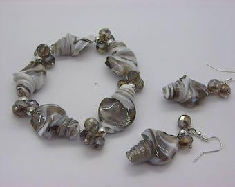set bracelet earrings white silver gray murano style glass beads