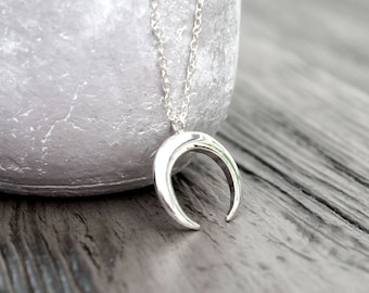 Silver Crescent Crescent Necklace