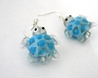 Turtle Lampwork Glass Earrings Light Blue Tortoise Earrings with Light Blue Spots