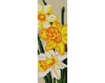 Daffodils Peyote Bead Pattern, Bracelet Cuff Pattern, Bookmark, Seed Beading Pattern Miyuki Delica Size 11 Beads - PDF Instant Download