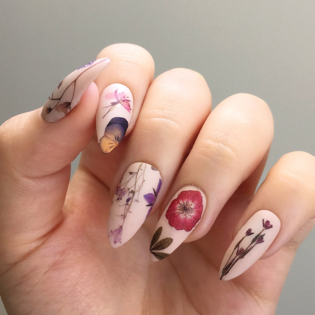 Pressed Dried Flowers Design Water Slide Nail Decals/Nail