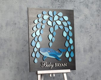 Whale Baby Shower Guest Book Alternative Baby Shower Guestbook Baby Boy Shower Guest Book Baby Shower sign in 3D guest book - CUSTOM COLORS
