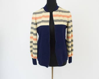 Vintage 70s Womens Medium Navy Blue and White Striped Tennis Jacket Sweatshirt