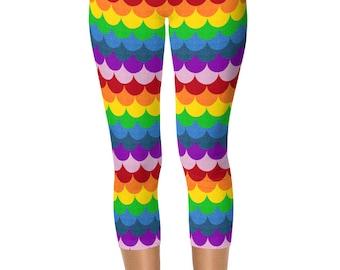 Capris Rainbow Leggings, Mermaid Scales Leggings Women, Bright Leggings, Multicolor Yoga Pants, Yoga Tights