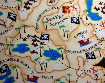 One 16  Inch Piece of Fabric Material - Pirate Treasure Map