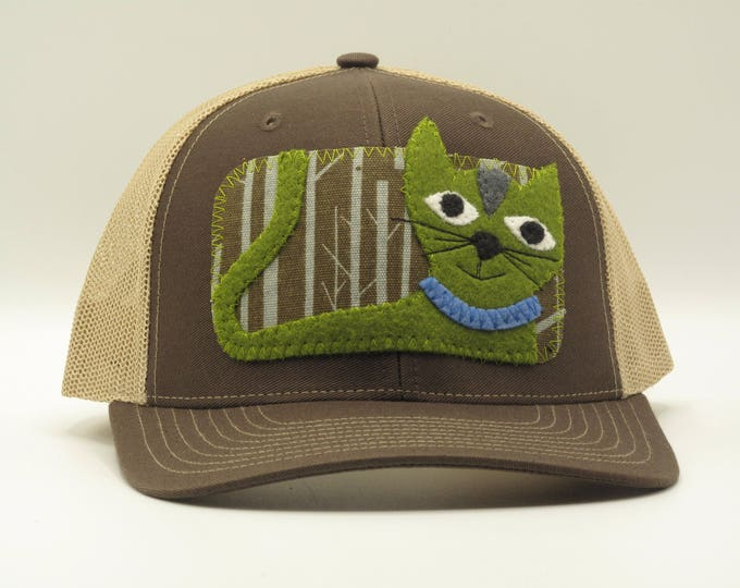 Green Cat Baseball Hat/Trucker Hat -  a great gift for cat lovers!