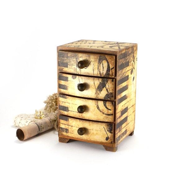 Music Gift Wooden Mini chest drawers jewelry organizer gift