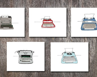 Typewriters Note Card Set Assorted