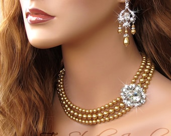 Multi Strand Pearl Bridal Necklace with offset crystal focal - available in several colors