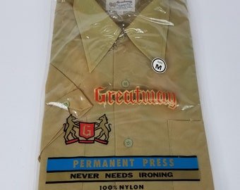 Vintage Greatway Men's Short Sleeve Shirt Sz M Green Stained Color  NOS 70's