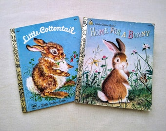 2 Vintage Little Golden Books Bunny Rabbit Children's Kid Ephemera - LITTLE COTTONTAIL Disney Advertising -  Home for a BUNNY