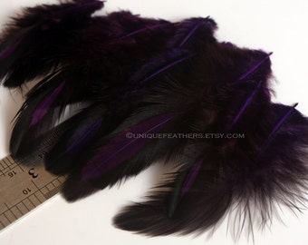 Dark Purple Feathers Laced Hen Saddle Feather Craft Feather Supplies For Accessories Hair Craft Supplies Millinery Hats Womens Pins, 12