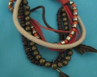 Nine Strand Festival Bracelet with Feathers