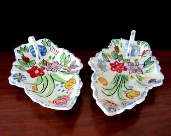 Blue Ridge China Hand Painted Leaf Shaped Relish Trays With Underglaze And Handles. Set Of Two By Southern Potteries Inc.