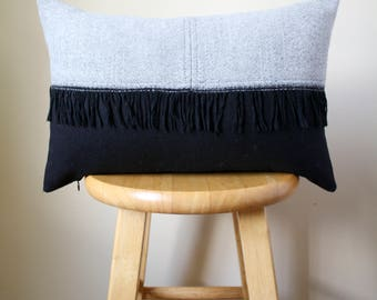 Wool Light Gray & Black Pillow Cover with Black Fringe - 12x18 /  Pillow / Pillow with Fringe / Gray and Black Pillow