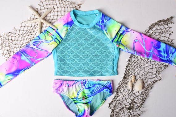 Surf Girls Rash Guard Mermaid Bikini. Toddler Bathing Suit. Two Piece Swim Suit. Surf Suit