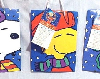 Vintage Snoopy, Woodstock, Charlie Brown 3 Christmas Gift Bags with Tags Ralston Chex Mix Cereal Premium