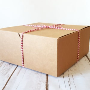 """5 Large Kraft Gift Boxes 8x8x3.5"""", One Piece Square Tuck Tab Boxes"""