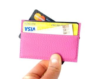 Vegan leather credit card holder, pink credit card case, womens credit card holder, pink credit card sleeve, vegan wallet, SELECT COLOR