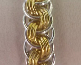Viper Scale Bracelet Gold and Silver Chain Maill Necklace in Anodized Aluminum Renaissance ChainMaille