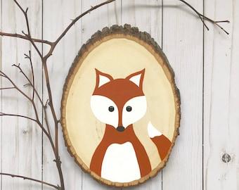 Nursery Fox Art, Fox Wood Slice, Woodland Nursery Art, Fox Painting, Woodland Fox, Camping Nursery, Wood Slice Art, Hand Painted Fox