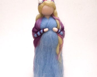 Expecting mother, needle felted waldorf figure, baby shower present