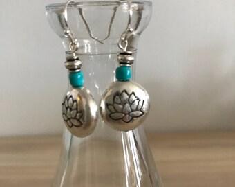 Silver Lotus Earrings, Lotus Bead Earrings