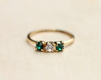 Crystal Ring, Crystal Bar Ring, Gold Band Ring, Stone Band Ring, Stone Ring, Vintage Crystal Ring, Vintage Ring, Gold Band