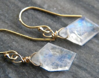 Moonstone Earrings, Edgy White, Women's Jewelry Semi Precious Blue Flash Rainbow Moonstone, Genuine Gemstone, Gold Fill, KarenWolfeCreations