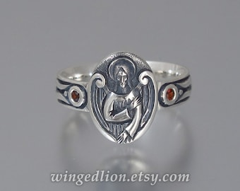 ANGEL'S SEAL Silver Signet Ring with Garnet accents