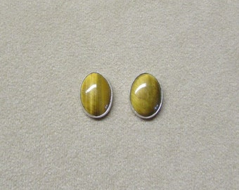 Tiger's Eye STERLING silver cabochon earrings with a post.