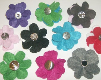 SALE: Lot of THREE layered felt flower pin brooches with vintage buttons