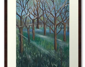 Framed Print Wall Art Taken From The Original Oil Painting 'Inspiration In The Bluebell Wood' By Sally Anne Wake Jones
