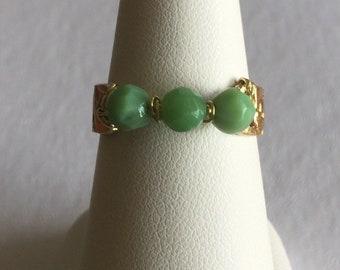 Natural Peruvian Green Opal Past Present Future Flexible Bronze Ring