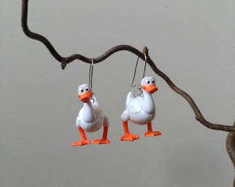 Plastic recycling toys duck earrings