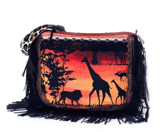 African crossbody bag, giraffes, lion, leopard handbag in brown, orange, black - fringed unique purse OOAK handmade - handmade gift for her