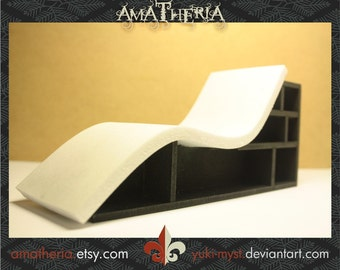Modern original furniture, lounge chair-bookcase hybrid, 1/12 miniature for dollhouses