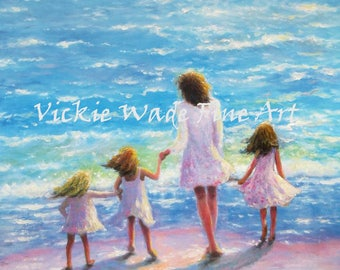 Mother and Three Daughters Beach Art Print, mom, three girls, beach sisters, three sisters, mother's day gift, loving mom, Vickie Wade Art