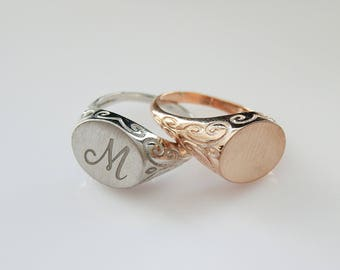 Engravable ring - Personalized Ring - Signet Ring -  women ring - Initial ring - Monogram Initial Ring - letter Ring
