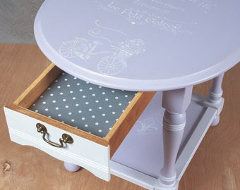 Lilac & White End/Accent Table