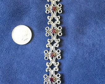 Silver and red carnelian linked bracelet