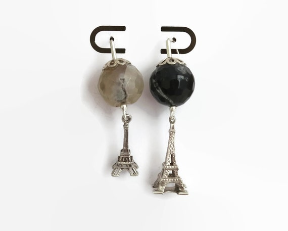 Sterling silver hook earrings with Eiffel Towers and faceted agate beads, mismatched earrings, black and grey agate, dangle earrings, 14gms