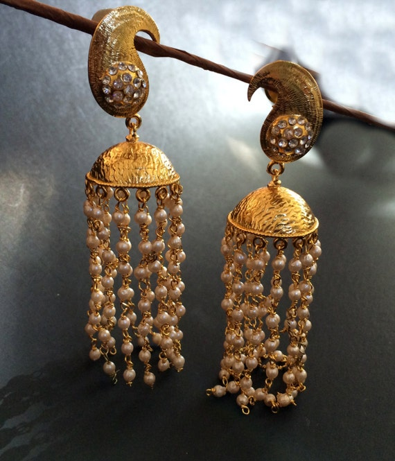 gold qpl women earrings jhumki pearls buy for jhumka zaveri golden dp