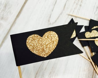 Heart Flag Cupcake Toppers.  Flag Food Picks.  Heart Themed Toppers