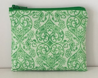 Swirling Hearts Coin Purse - Green Cotton Change Purse - Small Zipper Pouch