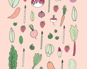 Affiches des aliments locaux saisonniers - été - automne - hiver - printemps
