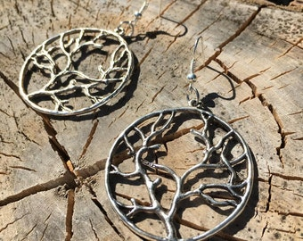 Silver Tree Branch Earrings