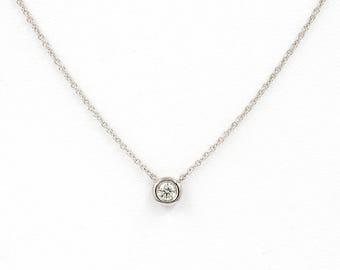 0.08ct.Diamond Necklace.Diamond By the Yard Dainty diamond Necklace.Minimalist women's Solid gold necklace.White Yellow Rose Gold Necklace