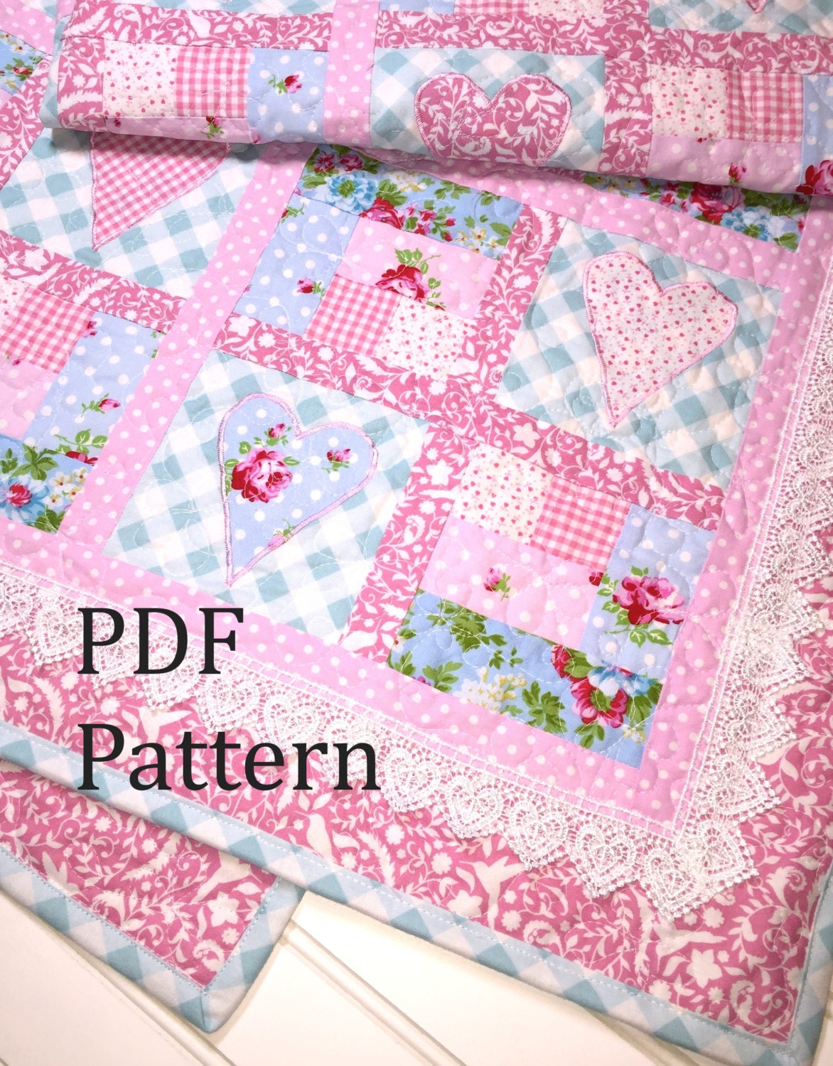 Heart Quilt Pattern Baby quilt pattern baby girl quilt